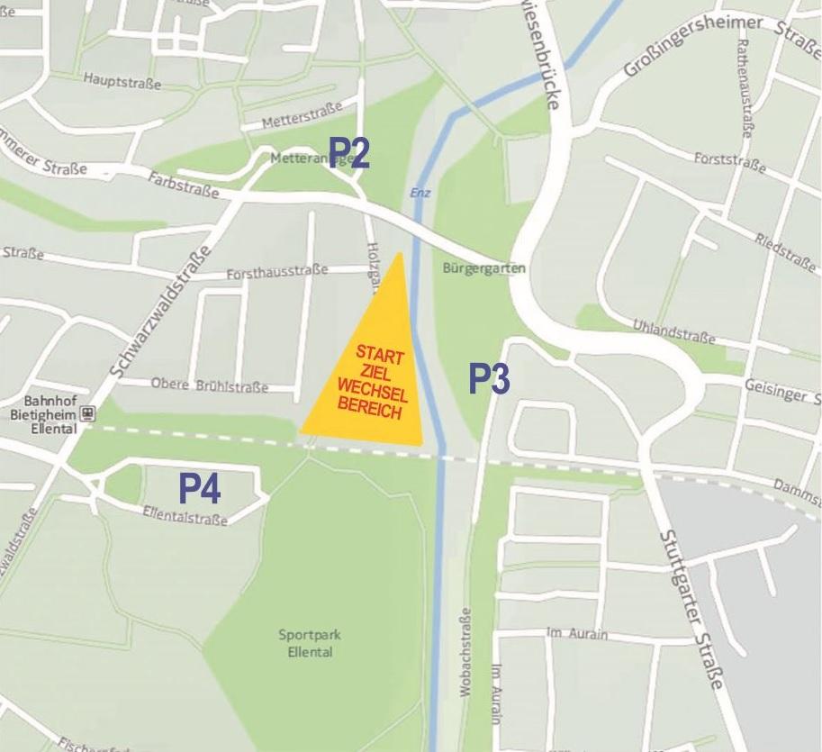 Unmittelbare Parkmöglichkeiten in der Nähe der Start- und Wechselzone